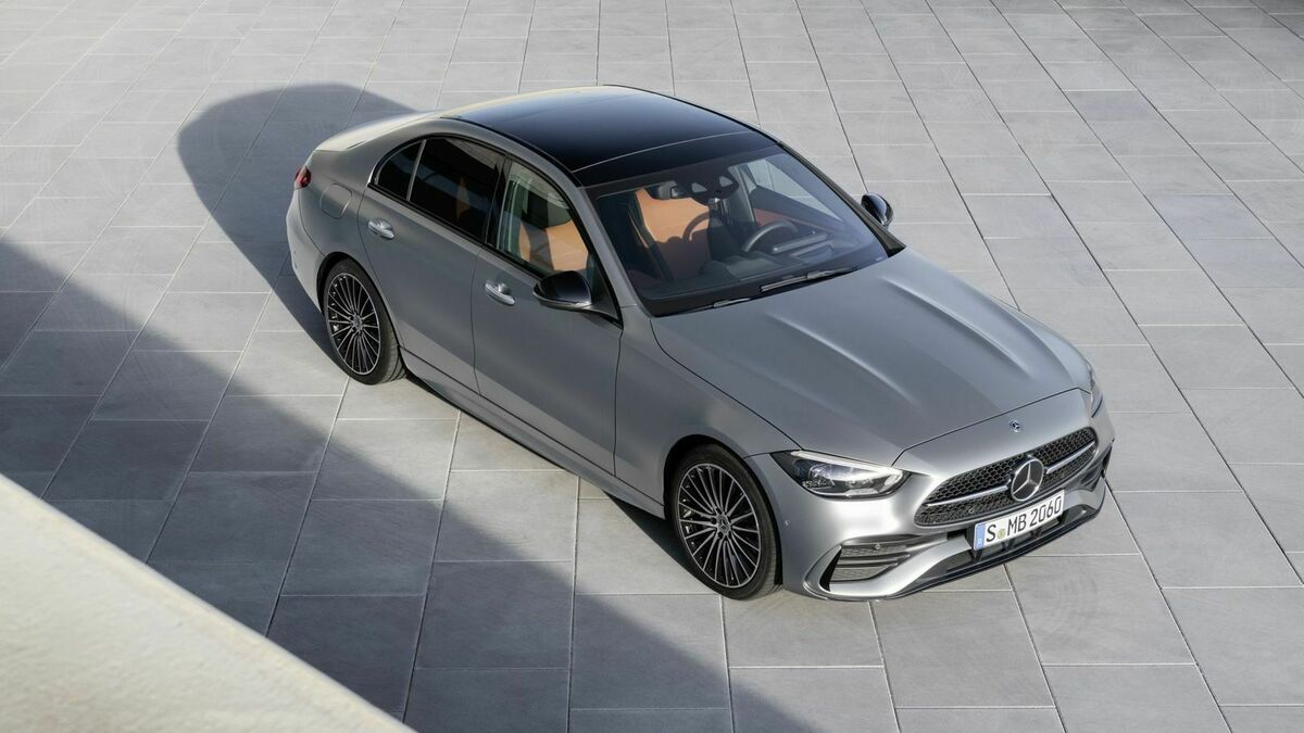 Mercedes C-Class 2021 three-quarter front view from above