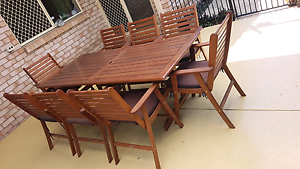 Wooden outdoor table and chairs Mango Hill Pine Rivers Area Preview