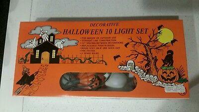 Halloween PUMPKIN SKULL Blow Mold LIGHTS String JACK-O-LANTERN Taiwan 1980s