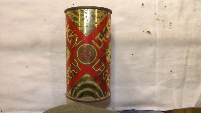 Vintage Lucky Lager Steel Beer Can Flat Top  g