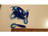 "50 Count New Free Shipping Dk Purple//Green Glitter Bulk 4/"" Curly Tail Grubs"
