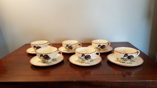 6 + Vintage Blue Ridge Pottery; Rooster Pattern tea cups and saucers