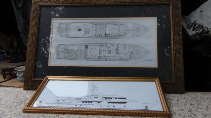 PAIR VINTAGE FRAMED WITH GLASS YACHT DIAGRAM BLUE PRINT MARITIME RARE
