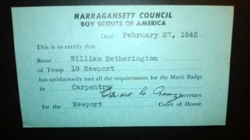 Old Vintage  Boy Scouts of American 1945 Card-Narragansett Council Feb.27,1945