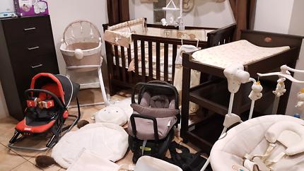 Bulk baby nursery items furniture cot change table swing capsule