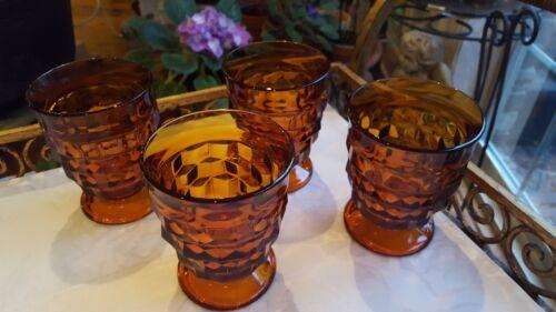 "4 VTG FOSTORIA Optic Cube Dark Amber Water Wine Stemmed Goblets 4 1/4 X 3"""