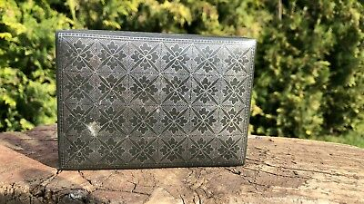 Beautiful Antique Vintage Metal Black Tin Decorative Box *