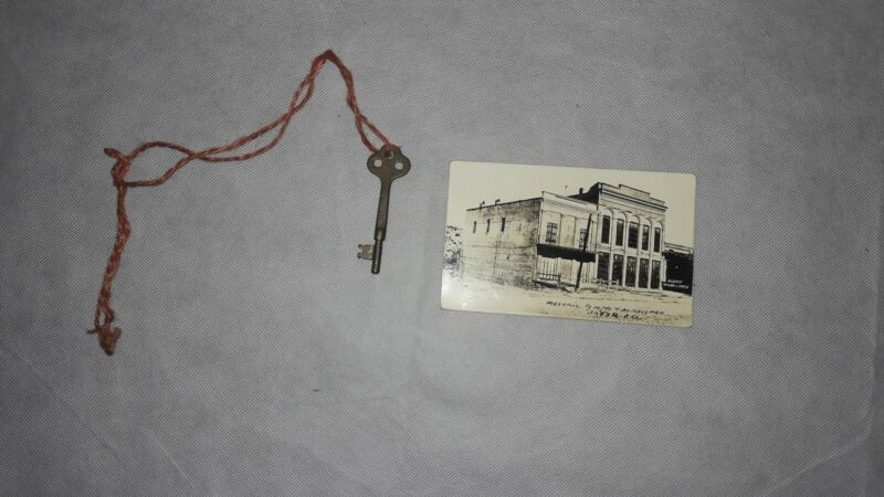 Antique Masonic Skeleton Key & Photo Postcard, Masonic Temple, Shasta, CA