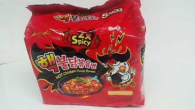 Samyang 2X Nuclear Spicy Hot Chicken Flavor Ramen Noodles Pack of 5 Korean Ramen
