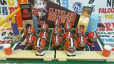 Twenty-two (22) piece NFL Teenymates Cleveland Browns figure/accessory set      (Browns Cleveland Browns Accessories)