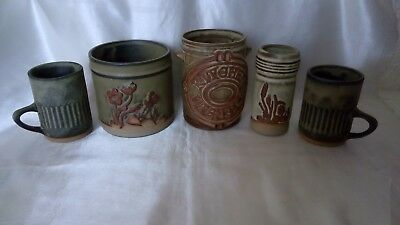 LOVELY QUINTET  OF TREMAR/PRESSINGOLL POTTERY,FARM HOUSE KITCHEN UTENSIL HOLDERS