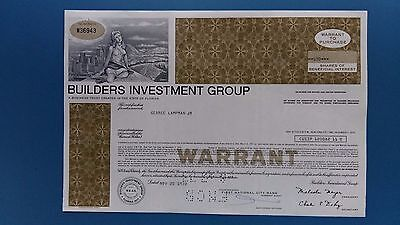 Warrant über 500 Shares 1972 Builders Investment Group, Florida