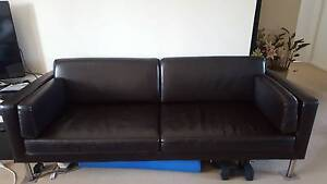 IKEA 2 seater dark brown leather sofa for sale for $ 85 South Perth South Perth Area Preview