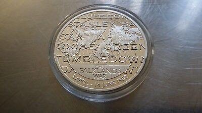 Commemorative Medal Falklands War silver plated and coloured , April-June 1982