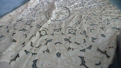 """#723 vtg Table Cloth 70"""" R Off White SATIN Like Material CUT OPEN Embroidered"""