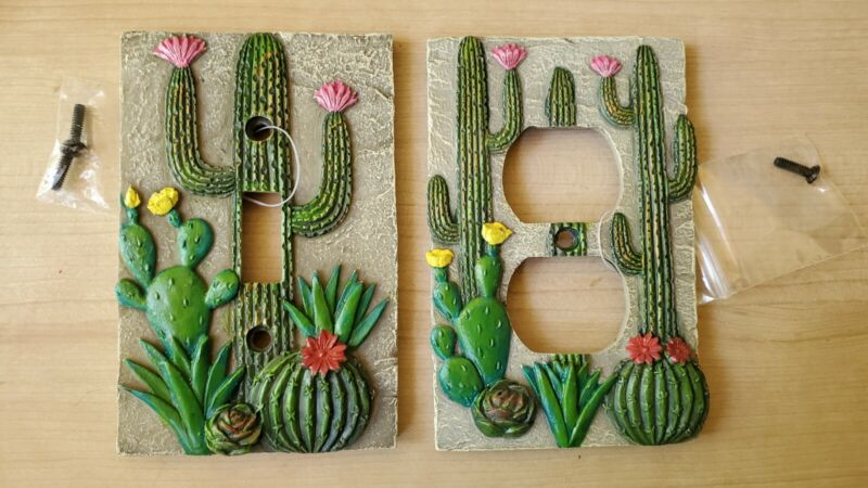 Set of 2 Decorative Cactus Wall Light Switch and Outlet Plates