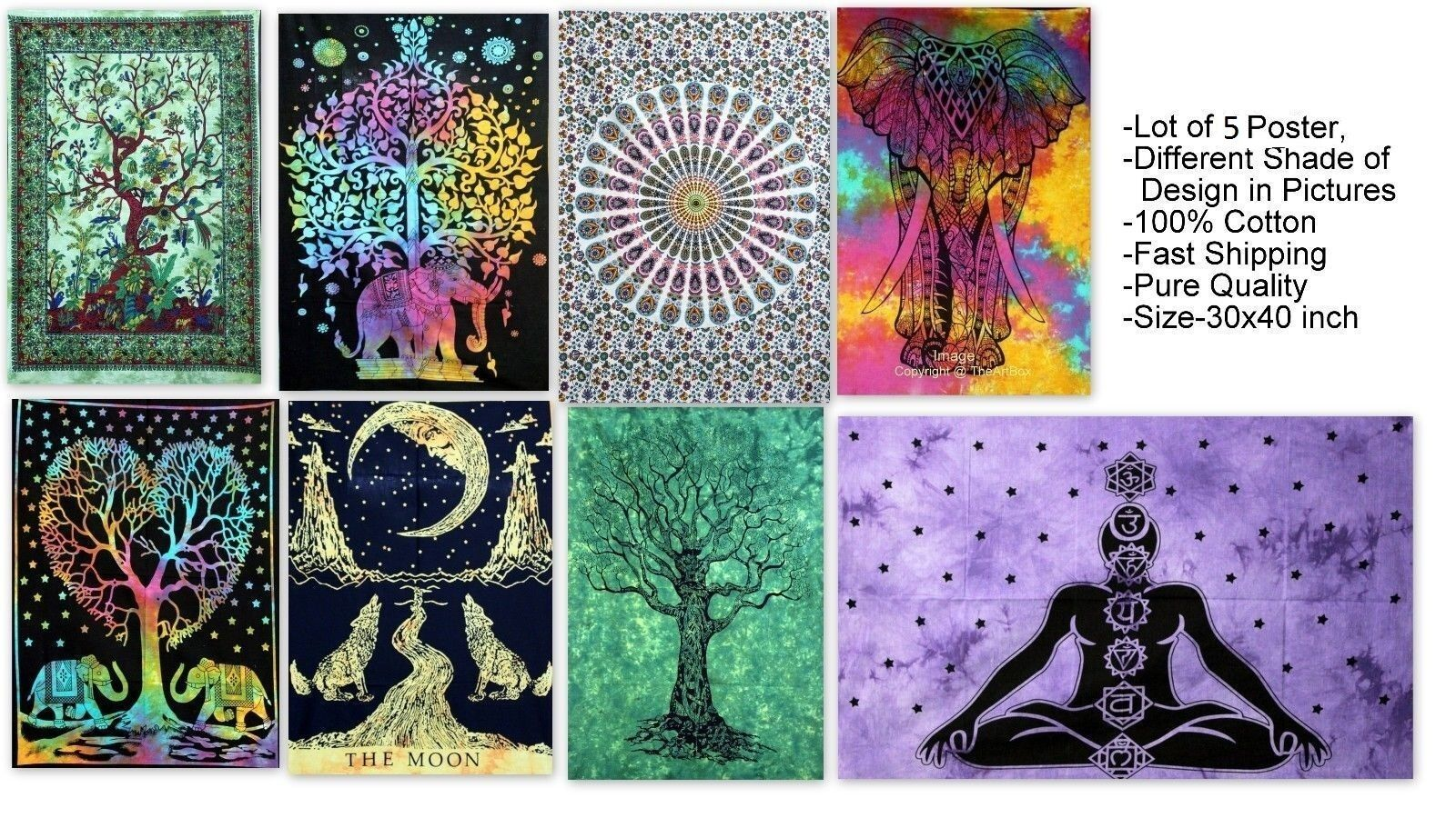 Cotton Tree Of Life Mandala Tapestry//Poster// Wall Hanging// Curtain Wholesale 5Pc
