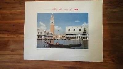 TWA VINTAGE ORIGINAL TRAVEL POSTER GRAND CANAL IN VENICE ITALY NOT A REPRO