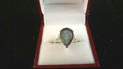 925 Silver Ring  With Heart Shaped Labradorite Stone (o Size
