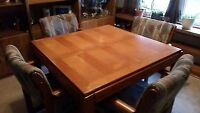 Like new Wood dining table w 4 chairs and leaf ext