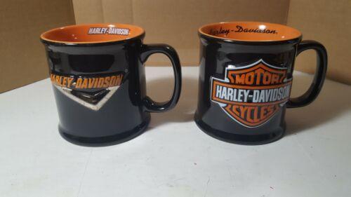 2 Harley Davidson Mug Large Coffee Cup/Mug 3D Embossed Logo in Black & Orange