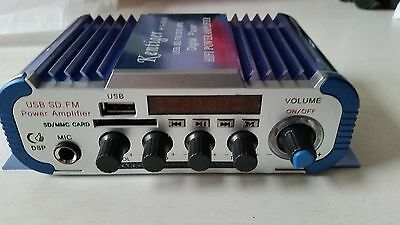 Mini Amplificateur Audio Voiture, Moto USB SD FM stéréo 3 en 1 Kentiger HY600