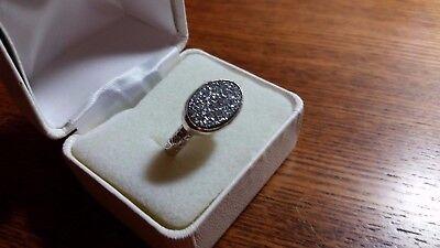 Sterling Druzy Quartz Ring Statement Ring Size 10