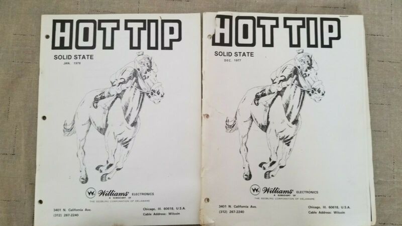 1977 &1978 Williams Hot Tip Pinball Operations Manual and Wiring Schematic