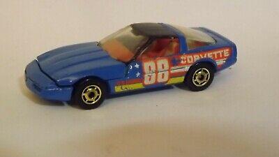 1989 Hotwheels 80s Corvette Blue No Hood Tampo Tan Bag 1/64 Scale