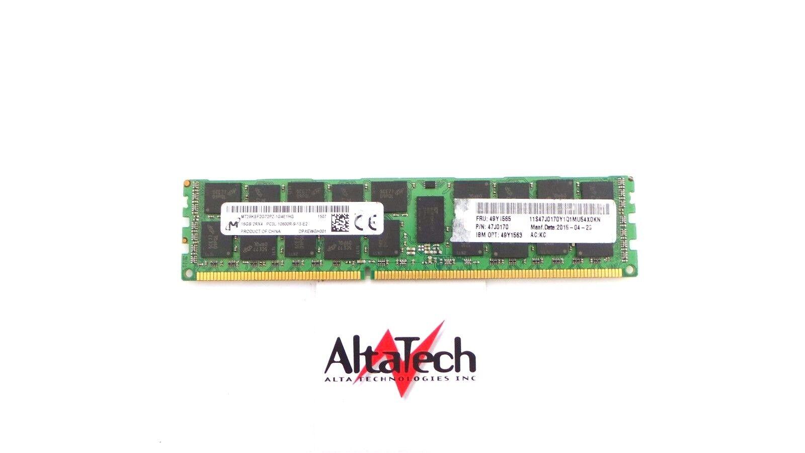 IBM//Lenovo 49Y1565 16GB 2RX4 PC3L-10600R MEMORY 49Y1563 47J0170 49Y1562 1X16GB