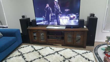 Timber coffee table and tv cabinet set