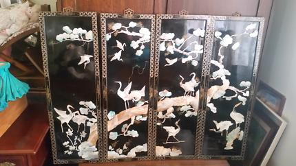 Antique Japanese Wall Art 4 piece set