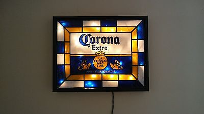 Corona Extra Inspired Beer Sign Stained Glass Look Lighted Hand Painted