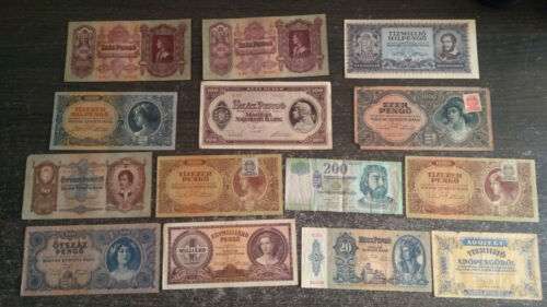 Hungary Pengo, mil, pengo Ft collection from WW2 WWII lot 14 banknote 1930-2006