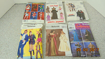 LOT OFF 6 Halloween Costumes Sewing Patterns: Butterick, McCalls, Simplicity