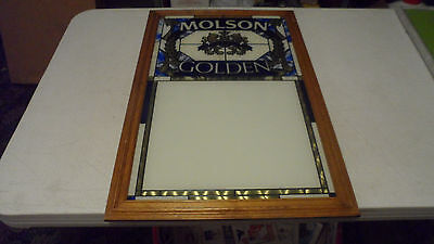 RARE BEAUTIFUL 1989 MOLSON GOLDEN BEER STAINED GLASS MESSAGE BOARD SIGN DRY ERA - Molson Dry Beer