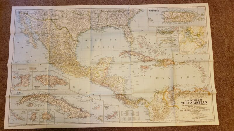 Countries of the Caribbean Map - 1947 - National Geographic Society - Poster