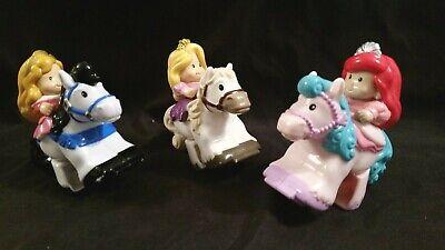 Fisher-Price Little People KLIP KLOP Princess on Horse -Lot of 3 Disney Princess