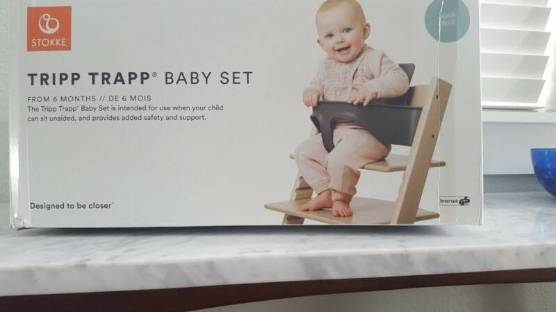 Stokke Tripp Trapp Baby Set in Aqua Blue -- new condition, open box