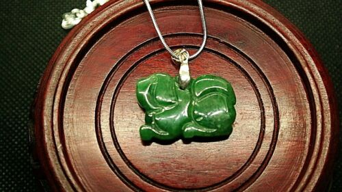 Beautifully Carved Natural Green Jadeite Jade Dog Pendant-Free Necklace! - P41