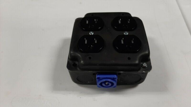 Powercon  Stage Quad Box Black