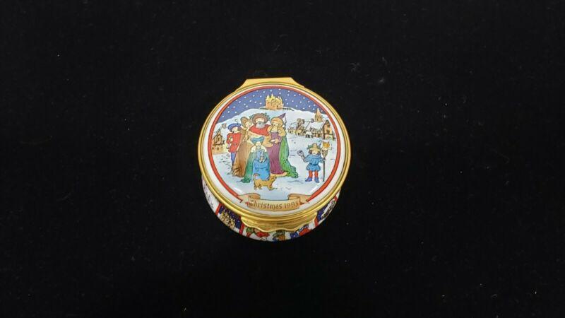 Halcyon Days 1993 Christmas Enameled Trinket Box