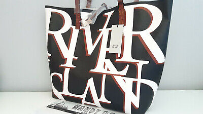 RIVER ISLAND Black River Printed Shopper Tote Bag * Fits A4 * BNWT