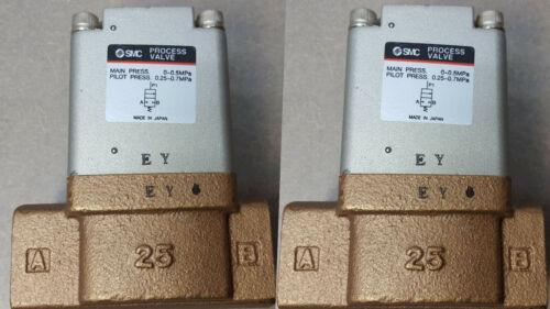 Lot of 2 SMC Process Valve VNB401B. Main press 0~0.5MPa. Pilot press 0.25~0.7MPa