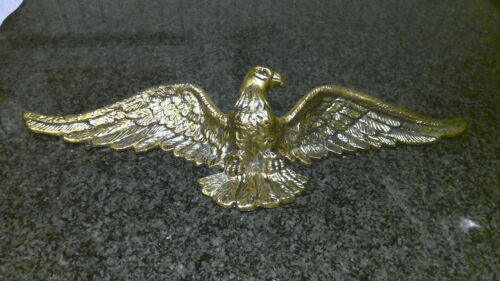 "Cast Brass American Bald Eagle Vintage Hanging Wall Sculpture 19"" Wingspan"