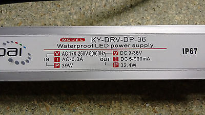 Kypai Constant Current Dimmable IP67 900mA LED Driver Transformer Power Supply