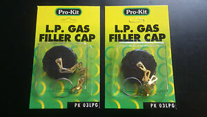 2 X LPG GAS TANK FILLER CAPS WITH CHAIN