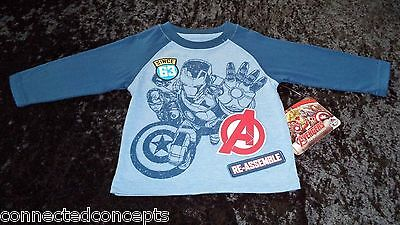 Avengers Iron Man & Captain America Toddler Boys T-Shirt (SIZES 12 Mo, 3T, 4T)