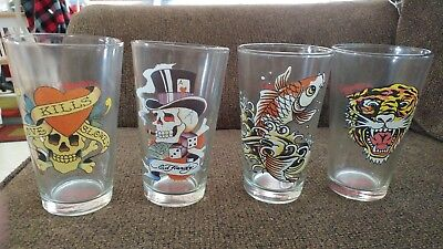 ED HARDY SET Of (4) 16 OUNCE GLASSES TIGER, SKULL, FISH, TATOO. NEW NEVER - Fish Tatoos