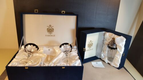 Faberge Imperial Collection Black Crystal Martini Glasses & Shaker w Orig Boxes